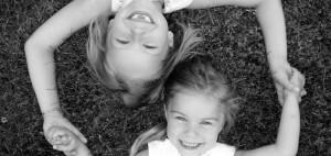 BW girls on grass
